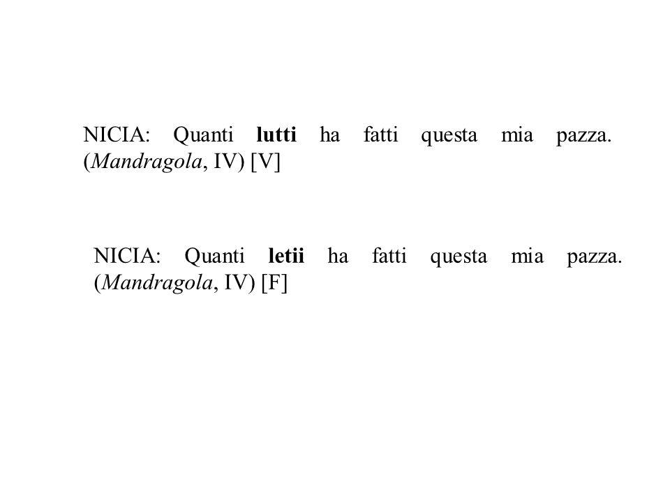 NICIA: Quanti lutti ha fatti questa mia pazza. (Mandragola, IV) [V]